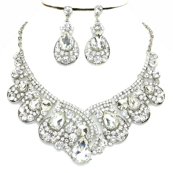 Affordable Clear Crystal Statement Silver Chain Necklace Earrings Set Wedding Bridal Pageant Jewelry - CR124QVH2XN