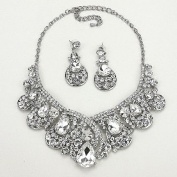 Affordable Crystal Statement Necklace Earrings in Women's Strand Necklaces