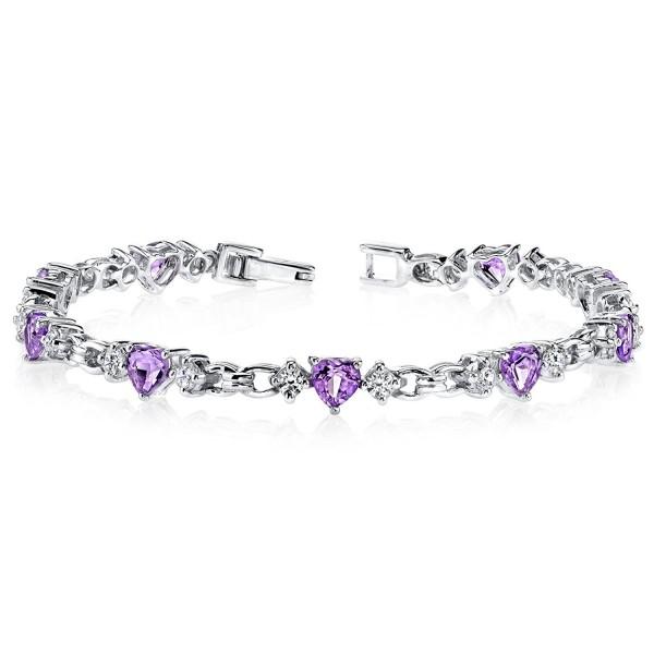 Amethyst Bracelet Sterling Silver 3.75 Carats Heart Shape - C6111OUNJEV