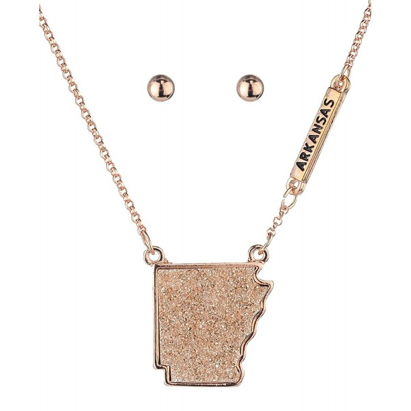 Women's Druzy Arkansas State Pendant Necklace and Ball Earrings Set - Rose Gold-Tone - C0186HZQGOK