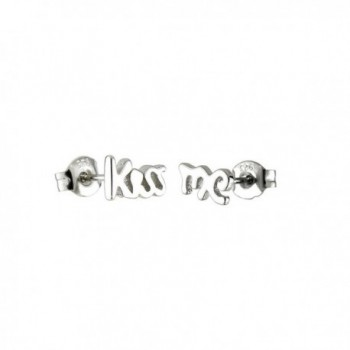 Cursive Kiss Me Rock and Roll Sterling Silver Small Post Stud Earrings - CW119HKUDA7