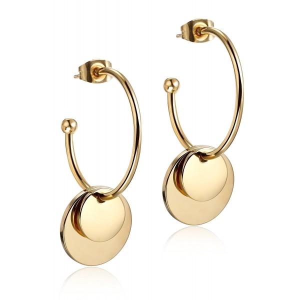 Wistic Gold Hoop Earrings Round Gold Dangle Earrings for Women Girls 25mm - Yellow - CG12MX5K1W5