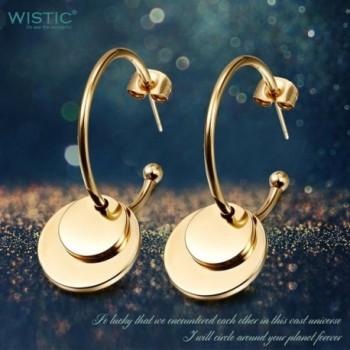 Wistic Earrings Round Dangle Yellow in Women's Hoop Earrings