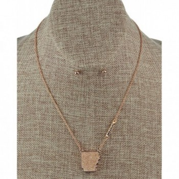 Arkansas Pendant Necklace Earrings Gold Tone