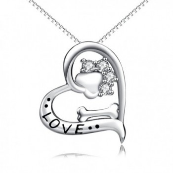 "YFN Animal Paw and Bone 925 Sterling Silver Women Fashion Pendant Necklace 18"" - CO182E35RKO"