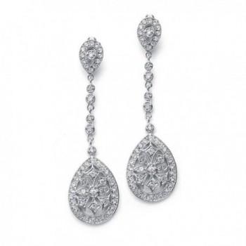 Mariell Art Deco Vintage CZ Wedding Earrings - Glamorous Gatsby-Style Dangle Chandeliers for Brides - CB12CJB75DJ