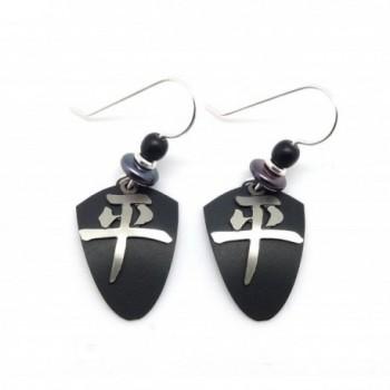 ADAJIO by Sienna Sky Chinese Peace Character Black Shield Earrings 7064 - C212F43ZTDH