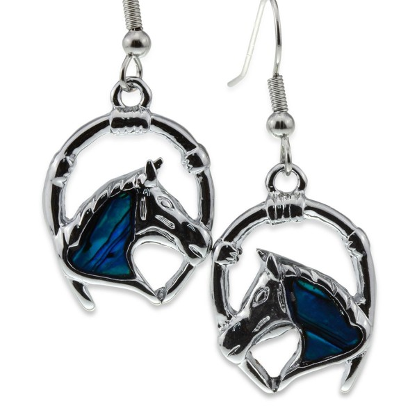 Silver Green Abalone Paua Shell Horse Head Lucky Horseshoe Earrings Jewelry for Crazy Lover Girl Women - CL11PMFCHJ7