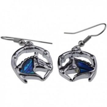 Silver Abalone Horseshoe Earrings Jewelry