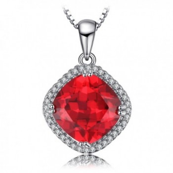 JewelryPalace Cushion 6.8ct Created Red Ruby Halo Pendant Necklace 925 Sterling Silver 18 Inches - CT12GOONW9D