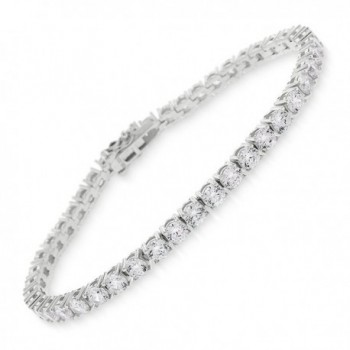 "Sterling Silver 3.5mm Brilliant-Cut Clear Round CZ White Tennis Bracelet 6.5""- 7""- 8"" - CU186TMZNIO"
