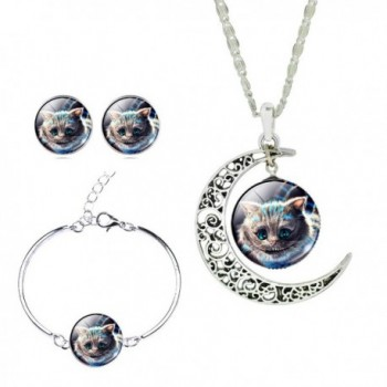 Lovely Mini Cat Hollow New Luna Crystal Time Gem Sterling Silver Jewelry Set for Women Holiday Gift - CL125RU8IDP