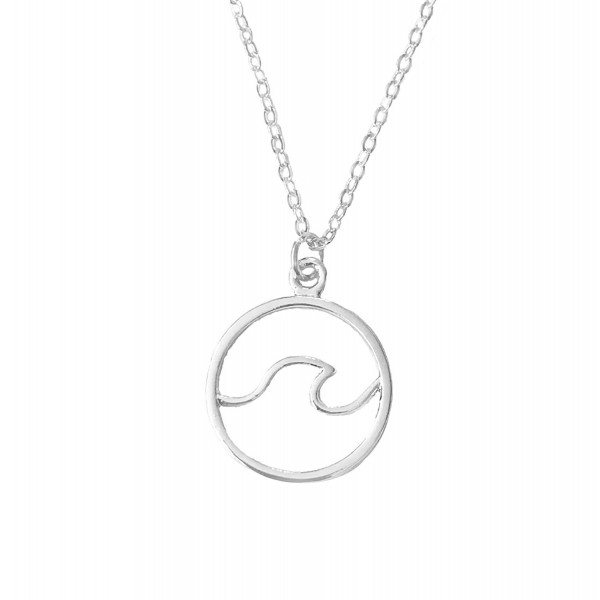Altitude Boutique Ocean Wave Necklace Surfing Sea Surfer Hawaii Circle Beach Jewelry (Gold- Silver) - Silver - CQ1803IS6QW