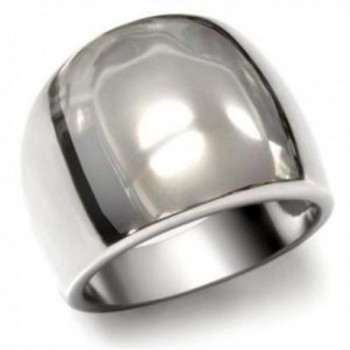 Stainless Steel Wide Polished Band Ring - CX11FB23GQJ