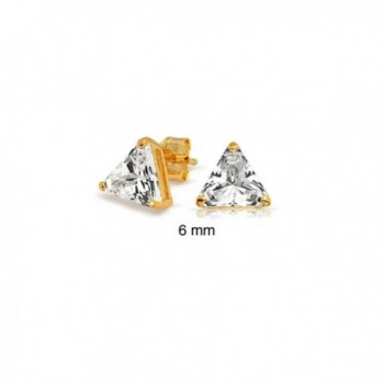 Bling Jewelry Basket Set Trillion Cut CZ Triangle Gold Plated Silver Stud Earrings 6mm - CV114EJGZNB