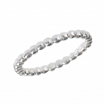 High Polish Beaded Wedding Band .925 Sterling Silver Stackable Ring Sizes 1-8 - CP182WEHOMN