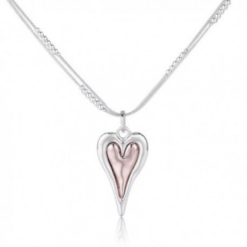 Shevalues Silver Heart Necklace Minimalist Hammered Irregular Heart Pendant Necklace - Rose gold - CI182LDCMHT
