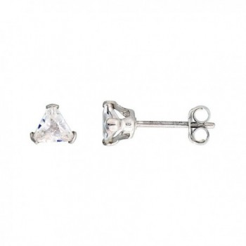 Sterling Silver Cubic Zirconia Triangle Earrings Studs 0.5 carats/pair - CH114W6BNUB