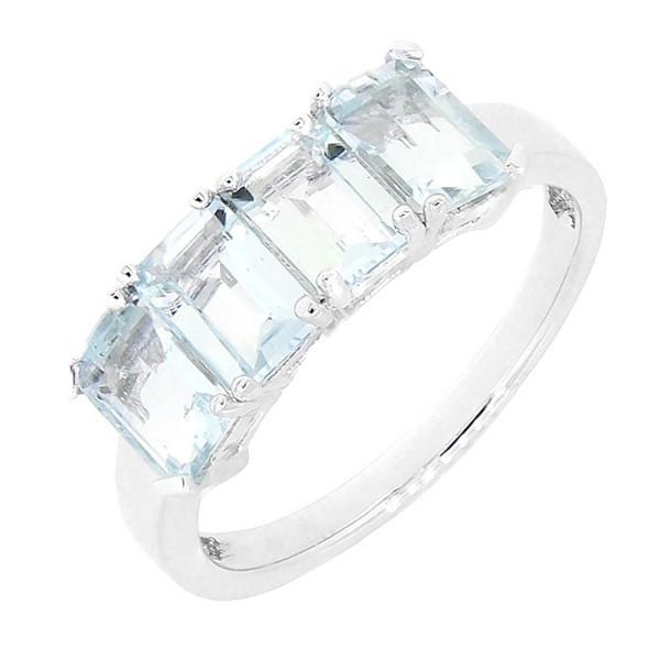 Sterling Silver Emerald Cut 4 Stones Natural Aquamarine Ring (2 CT.T.W) - CL11L3AV76N