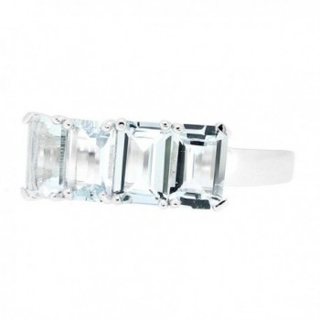 Sterling Silver Emerald Natural Aquamarine in Women's Statement Rings