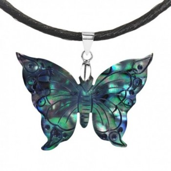 Carved Abalone Shell Rainbow Transformation Butterfly .925 Sterling Silver Silk Necklace - CY128KY056N