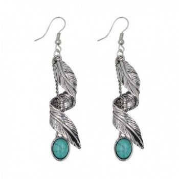 Turquoise Earrings Synthetic Necklace Bracelet - Leaves feathers - CY189OL9QWE
