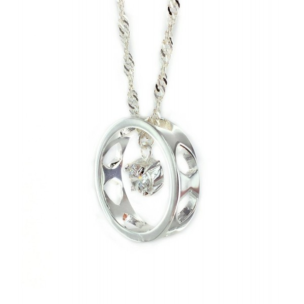 "CTR Pendant Necklace - Silver-plated Ring & Cubic Zirconia Gem - Encircled in Righteousness - 17"" Chain - C212FOPL29Z"