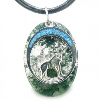 Howling Wolf Moon Amulet Good Luck Powers Moss Agate Gemstone Leather Pendant Necklace - CK11L0W0TSR