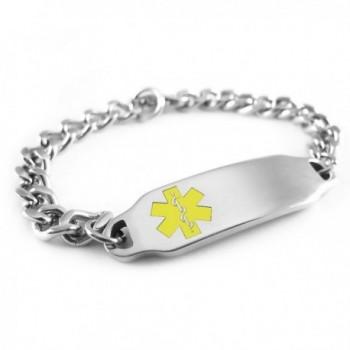 MyIDDr - Pre-Engraved & Customizable Diabetes Type II Alert ID Bracelet- Yellow Symbol - CT116JRAA5N