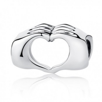 Love Heart Bead Charm Love in Your Hands Charm Bead Fingers with Heart Charms Fit Snake Chain Bracelet - C2188IDO0D6