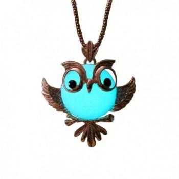 Owl Glowing Necklace Alloy Jewelry Blue Green Color 33 Inches Christmas Gift - CB127NFS4KT