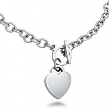Stainless Steel High Polish Heart Charm Toggle Necklace 18 Inches - C111R0BP12B
