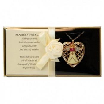 Mother Angel Necklace Crystal Accents