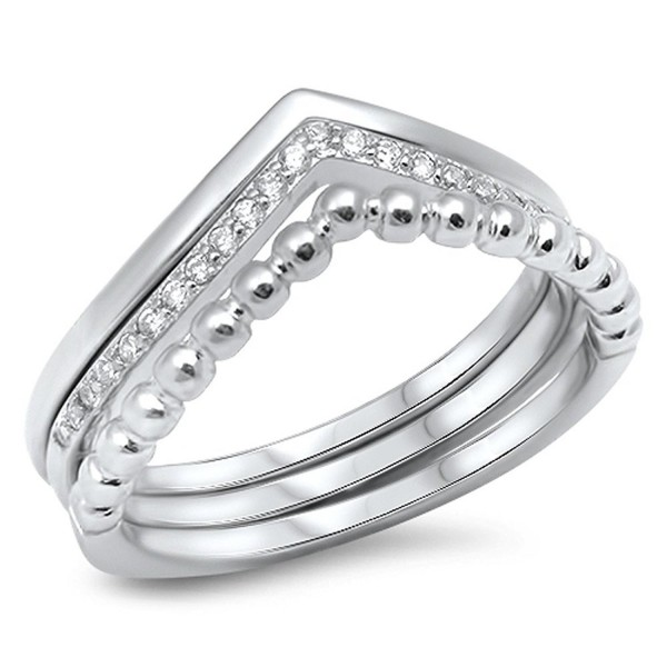 Chevron Set White CZ Stackable Thumb Ring .925 Sterling Silver Band Sizes 5-10 - C312GTVORNL