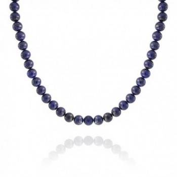 Bling Jewelry Silver Plated Round 10mm Lapis Lazuli Bead Necklace 18 Inch - C711EIKMQGV