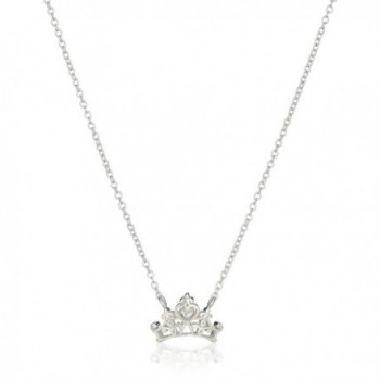 "Disney Princess Crown Pendant Necklace- 16""+2"" Extender - Silver - CG11V8BF95N"
