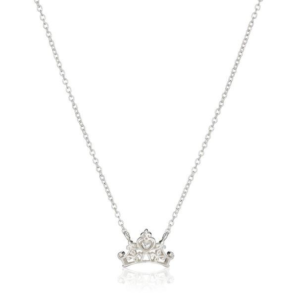 "Disney Princess Crown Pendant Necklace- 16""+2"" Extender - Silver - CG11V8BF95N"