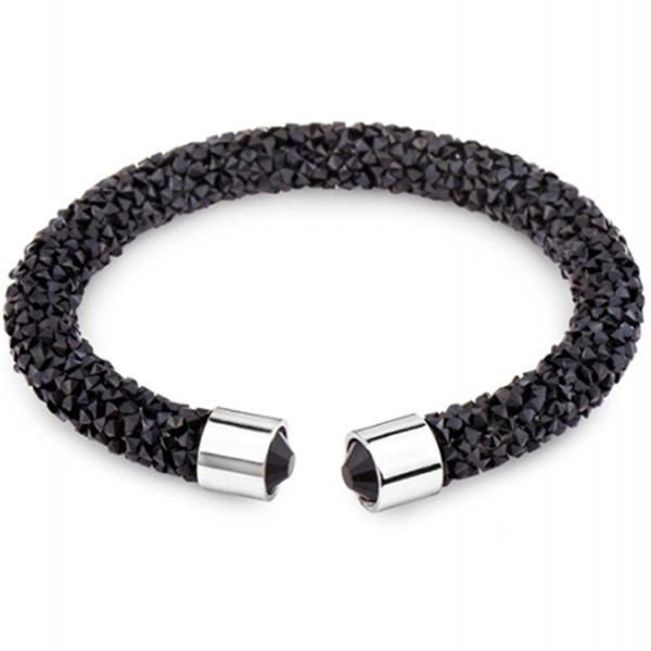 Silver and Post Women's Swarovski Crystals Black Cuff Bracelet Design- Bamboo Gift Box Included - CU188A7HWO4