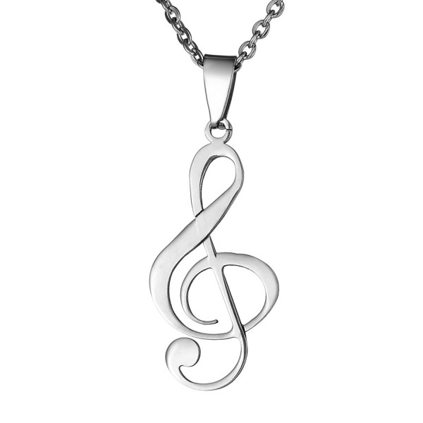 "VALYRIA Stainless Steel Musical Music Note Charm Pendant Necklace 22"" - Silver - CQ12O85LH7L"