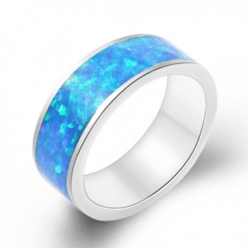 Birthstone Ring Silver Fire Rainbow Opal Size 7 - Blue - CA17YLA57H9