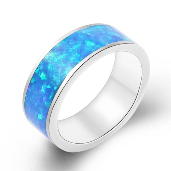 Birthstone Ring Silver Fire Rainbow Opal Size 7 - Blue - CA17YLA57H9