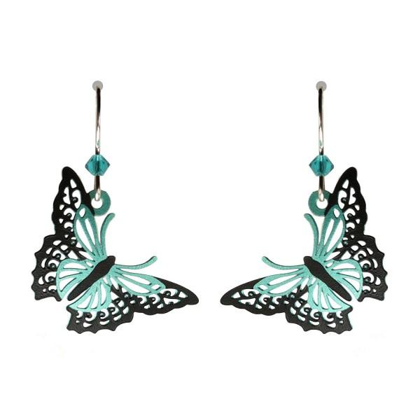 Sienna Sky Aqua and Black Filigree Butterfly Earrings 1836 - CA11X1J55L3