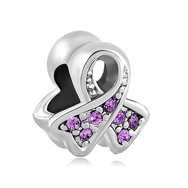 CharmsStory Sterling Silver Purple Synthetic Birthstone Ribbon Breast Cancer Awareness Charm For Bracelets - CG129IM4IH3