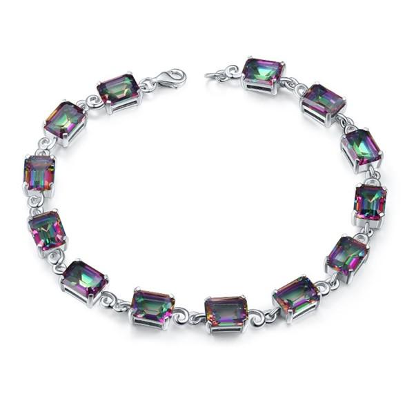 "Aurora Tears Mystic Topaz Created gemstone DB2M - ""7.68"""" Rainbow rectangle"" - CI12NZ1ULI8"