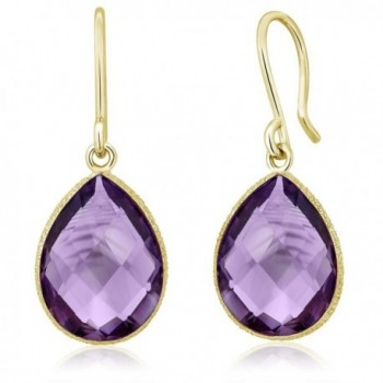 13.00 Ct Faceted Amethyst 16x12mm Pear Shape Gold Plated Silver Dangle Earrings - CK11MGWEWYR