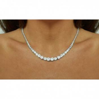 Magnificent Graduated Zirconia NYC Sterling in Women's Chain Necklaces