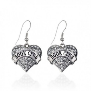 Book Club Pave Heart Earrings French Hook Clear Crystal Rhinestones - CL1240K3DND