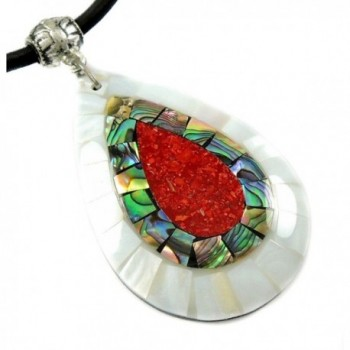 """Handmade 2.4"""" Red Coral Mother of Pearl Abalone Shell necklace 16"""" to 27"""" CA423 - CV1856W6DDZ"""