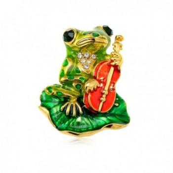Alilang Golden Tone Emerald Green Colored Rhinestones Frog Toad Violin Leaf Brooch Pin - C5113T2EOFP