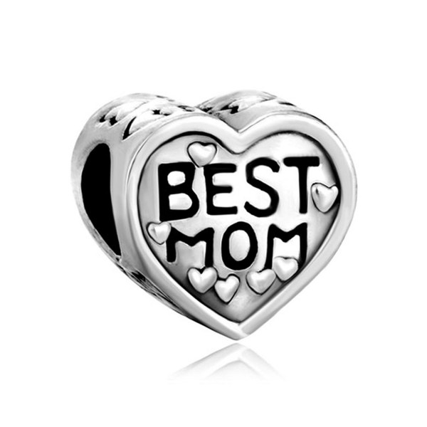 ReisJewelry Mom Charm Heart Love Mothers Day Charms Bead For Bracelets - Silver Plated - CQ18629YA2H